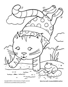 summer fun diving kitty coloring page - Coloring Pages Kitty Summer