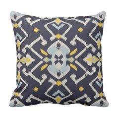Trendy stylish black yellow turquoise ikat pillow. *** See even more by clicking the photo link