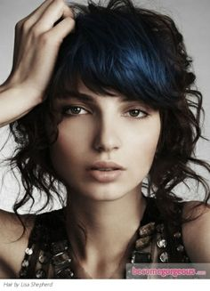 Black Hair with Blue HighlightsHair Highlights Ideas pictures Add an edgy vibe to your already smashing hairdo with this black hair with blue highlights hair dyeing design. Amp up the locks with cute curls and pay special care to regular touch ups for the long-lasting effect of your hairdo.