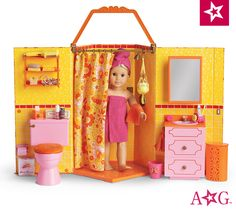 OMG I think this is coming in the mail to marrow ! American Girl Storage, American Girl Doll Julie, American Girl Doll Shoes, American Girl Clothes, American Girl Crafts, American Dolls, Ag Doll House, Girls Dollhouse, Diy Crafts For Girls