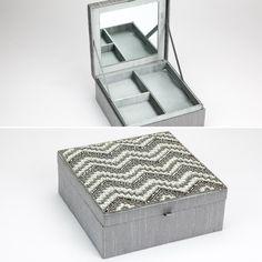 Caixa Ziguezague Cinza e Branco 20 x 20 cm | A Loja do Gato Preto | #alojadogatopreto | #shoponline | referência 105667117