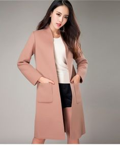 2016 Wool & Blends Women Coat Slim Single Single Button Long Solid Cashmere…