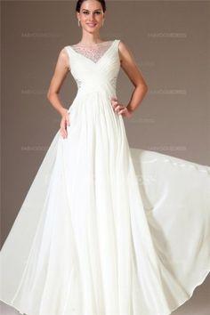 A-Line/Princess Bateau Floor-length Chiffon Evening Dress