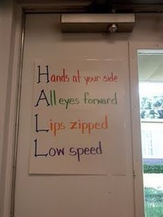 Great idea to say before walking in the hall. I think this will definitely be in my classroom this year. Classroom Behavior Management, Classroom Rules, Classroom Posters, Future Classroom, School Classroom, School Fun, School Ideas, Classroom Ideas, Classroom Pictures