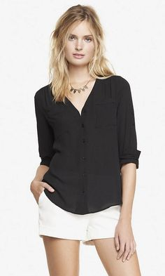 Gathered V-neck Blouse | Express