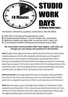 silent ten minutes studio art handout - Google Search