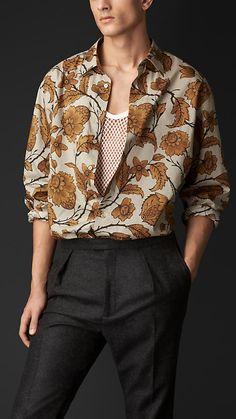 Leaf Print Silk Cotton Artist Shirt | Burberry
