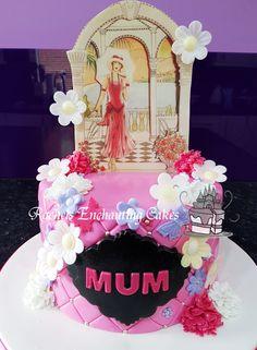 Pink Art Deco Styled Birthday Cake by Rachels Enchanting Cakes , Sheffield, www.rachelsenchantingcakes.com