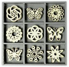 Scrapbooking Box Of 45 Wooden Shapes Ornaments Butterfly Ornament 1016 & Garden Butterfly Ornaments, Wooden Shapes, Scrapbooking, Display Boxes, Decoration, Mini, Embellishments, Coasters, Crafts