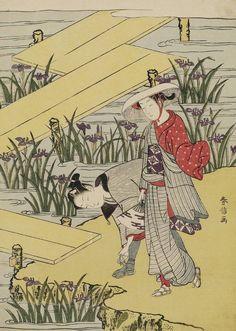 Travelers at Yatsuhashi.  Woodblock print, 1768, Japan, by artist Suzuki Harunobu