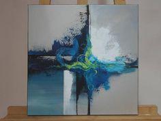 Toile peinte à lacrylique. Dimensions: 40x40. Peinture réalisée dans des tons froids: gris, bleu, blanc et vert. Les bords sont peints en noir. La toile est vernis et signée au dos. Cela permet de ne pas imposer un sens de lecture de la toile. Le tableau peut ainsi être