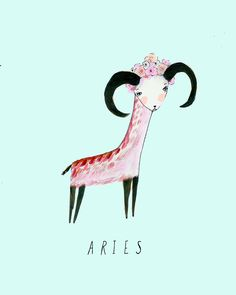 Aries zodiac illustrated by Katy Smail Aries Astrology, Aries Zodiac, Zodiac Signs, Astrology Chart, Art And Illustration, Arte Aries, Aries Art, Aries Aesthetic, Birthday Postcards