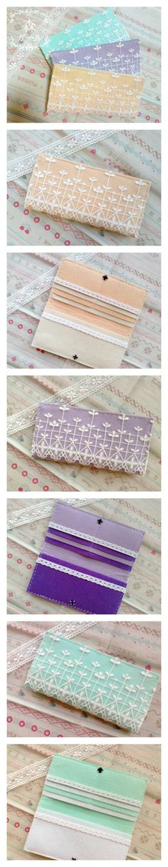 DIY lace wallet: take one (2 if using an interface fabric) rectangular piece 2x width of a credit card (+ seam allowance), one piece that is almost half of the first one in height and several smaller and smaller pieces of (felt) fabric. Sew all the pieces together from the edges as pictured and create places for cards by sewing a vertical line onto the overlapped fabrics. Embellish with lace and sew press studds for fastening.