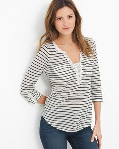 "The essential maritime stripe tee just got a bit more sophisticated. Holding its classic aesthetic and ode to Parisian style this updated version is on-trend with lace-up detailing and brass-tone grommets. Whether jeggings or boyfriend jeans this tee is a must for weekend strolls or relaxed casual days.   Three-quarter sleeve lace-up tee with pocket Rayon/lyocell. Machine wash cold Regular: Approx. 25 3/4"" from shoulder Petite: Approx. 24 5/8"" from shoulder Imported>"