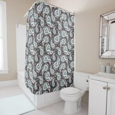 Fantasy paisley pattern shower curtain - floral style flower flowers stylish diy personalize