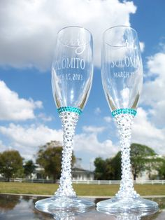 Bling! Wedding flutes  @Megan Ward Ward Lawson. Theres only one left but i bet we can find some just like them somewhere else