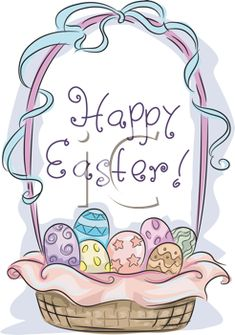 iCLIPART - Illustration of an Easter Basket with Easter Greetings