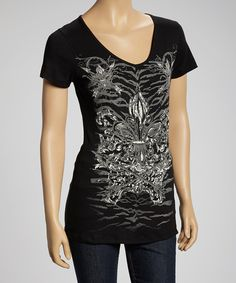 Take a look at this Liberty Wear Black & Gray Fleur-de-Lis Arrow Short-Sleeve Top on zulily today!