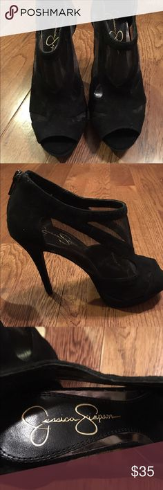 Jessica Simpson Zip Up Back Peep Toe High Heels These are a gorgeous pair of Jessica Simpson Black Zip Up Back Peep Toe High Heels.  These are gently worn and are black suede with sheer screening for parts of your feet to show through.  These are in a size 6. Jessica Simpson Shoes Heels