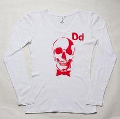 DEAD MANS PARTY  -100% cotton  -long sleeve v neck  -white red print  PRICE: $30.00    http://www.druedun.com/store/44/137/DEAD-MANS-PARTY.html
