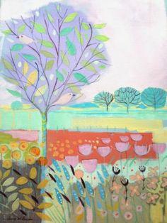 Original Acrylic Painting on Canvas 'Lilac Tree'. Signed Annabel Burton