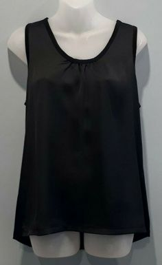 Uniqlo Sleeveless Top Womens Size Medium Contrast Black High Low Sheen Ruched #Uniqlo #Basic #PartyCocktail Uniqlo, High Low, Contrast, Blouses, Medium, Shirts, Color, Black, Tops