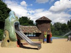 Berlin, Germany: Children can even create their own cob structures in a hands-on workshop. Or kids can also splash in the water garden where cobblestone-lined paths run alongside creeks and water areas, perfect for little children to safely play.