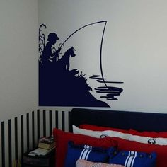 Little Boy Fishing with His Dog Vinyl Wall Sticker Decal - So Funny Epic Fails Pictures Boys Fishing Room, Fishing Nursery, Boy Fishing, Fishing Books, Fishing Tips, Bedroom Themes, Kids Bedroom, Kids Rooms, Bedroom Ideas