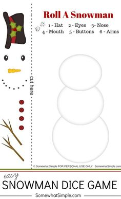 Get ready for a night of family fun this holiday season! This snowman dice game can't get any easier to prepare and play. via @somewhatsimple