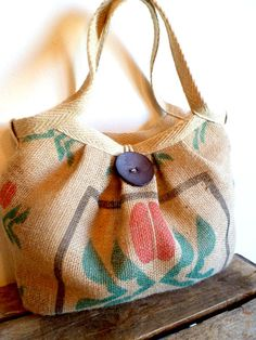 Burlap Coffee Sack Bag. Etsy....cute, cute, cute!! LOVE the idea of this. would love to have one made out of old flour sack etc.
