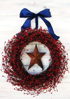 Primitive PATRIOTIC Wreath-Star Wreath-Rustic Wreath-Summer Wreath-4th July-Door Wreath-Scented Cinnamon Stix-Choose your Scent and Ribbon. $65.00, via Etsy.
