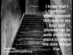 You know you are loved not by your ability to be something to someone, but rather by your ability to be nothing to them.  To be nothing special. To be nothing outstanding. To not be whole. To not be complete.  When a survivor of abuse comes to realizes this, they are giving themsleves permission to get whole   Connect with the Cause! Buy the book (all proceeds used for advocacy)  Website : noworkingtitle(.)org  FB/ noworkingtitle Tw / @nwtauthor G+ / +nwtauthor