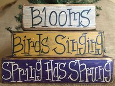 Primitive Blooms Singing Birds Spring Has Sprung Wood Shelf Sitter Block Set #PrimtiveCountry