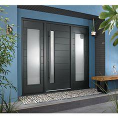JCI Ultimate Door Frame with 610 mm Double Side Light Grey - 2079 x 2238 mm Grey Composite Front Door, Grey Front Doors, Modern Front Door, Front Door Entrance, Front Entry, Porch Doors Uk, Modern Front Porches, Front Door Porch, Beautiful Front Doors