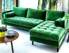 Sofa L shape with couch – Hazir Site Green L Shaped Sofas, U Shaped Couch, Living Room Sofa Design, Couch Design, Boho Living Room, Design Design, Living Rooms, Interior Design, Small Houses