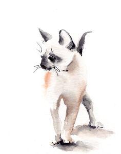 Kitten Watercolor Print, Cat Painting Art Print, Minimalist Kitten Painting, Cat…