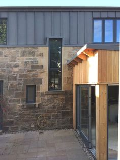 HELEN LUCAS ARCHITECTS is a versatile architectural practice providing bespoke designs to meet the demands of modern living and working. Zinc Cladding, House Cladding, Exterior Cladding, House Siding, House Extension Design, Roof Extension, House Design, Stone Cabin, Stone Barns