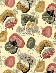 Pattern Design – Original designs from the by unknown designers working for studios in Kref… Motifs Textiles, Textile Patterns, Textile Prints, Textile Design, Fabric Design, Print Patterns, Fall Patterns, Lino Prints, Design Design