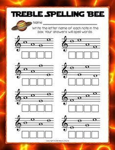 Staff Wars Musical Spelling Bee Worksheets {18 No Prep Spa