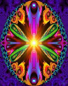 """""""Recalibration"""" is a colorful rainbow psychedelic chakraart print in my reiki healing line of spiritual wall decor. This abstract art print would be a beautifu"""