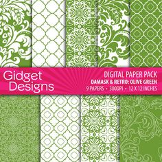 Download Digital Paper Pack Damask & Retro Olive Green Online | Gidget Designs