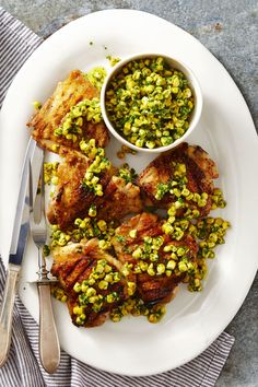 Grilled Chicken with Herbed Corn Salsa