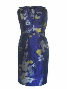 TAHARI Strapless Cocktail Dress-PURPLE/MULTI-8 « Clothing Impulse