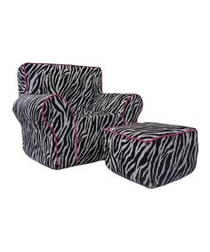 Loving this Pink Zebra Fun Foam Chair & Ottoman Set on #zulily! #zulilyfinds