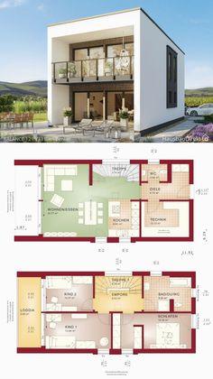 Moderne haus-pläne mit 2-story & flachdach-architektur-design-ideen zeitgenössischen und minimalistischen stil Modern Architecture Design, Roof Architecture, Modern House Plans, Modern House Design, Contemporary Design, Flat Roof, House Goals, One Story Homes, Story House
