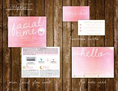 Rodan  Fields Stationery Suite (Sorbet): Business Card | Flat Note Card | Mini Facial Card (22.00 USD) by UncommonPaperie