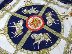 Vintage Celine Paris equestrian scarf, silk twill.