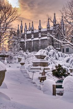 """Snow in Mt. Auburn Cemetery outside Bigelow Chapel. This peaceful Massachusetts graveyard was one of the first """"garden-style"""" cemeteries in America Winter Magic, Winter Snow, Hirsch Illustration, Winter Schnee, Winter's Tale, Snow Scenes, Winter Beauty, Winter Pictures, Winter Garden"""