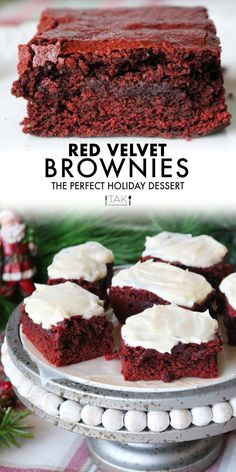 Red Velvet Bars are the perfect holiday brownie and make wonderful homemade Christmas gifts! Red Velvet Brownies with a topping of fluffy Cream Cheese Frosting say Merry Christmas like no other Christmas dessert can!