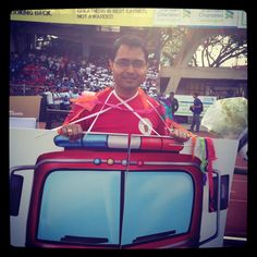 A participant dressed as an ambulance for awareness at the Kingfisher Costume Event #TCSWorld10K 2012